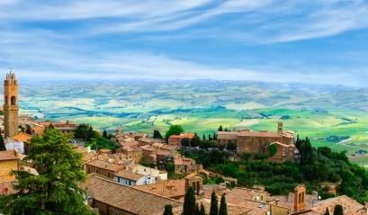 The ancient Italian town of Montalcino. Panoramic view from the city tower.